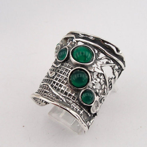 Sterling Silver Green Agate Ring (H 144)