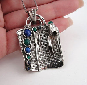 Hadar handcrafted Sterling Silver Mix Stones Pendent (H 425DO)
