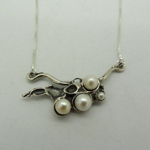 Handmade Fine Sterling Silver Cluster Pearl Pendant