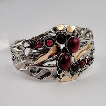 Great Garnet Wide Sterling Silver Yellow Gold Cuff Bracelet (h g311)