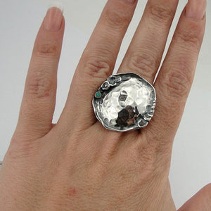 Sterling Silver Ring With a Small Blue Opal (H 1082)