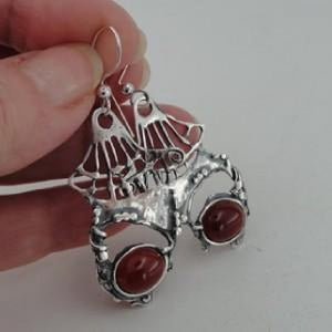 Silver Long Earrings with Natural Carnelian (H 2980)