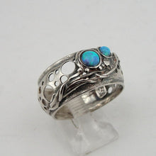 Isarel design 925 Sterling Silver wide band Opal woman Ring size 9 gift (h 1332b