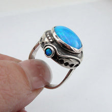 Hadar Jewelry Handcrafted Israel Art Sterling Silver Opal Ring size 8 (H156)