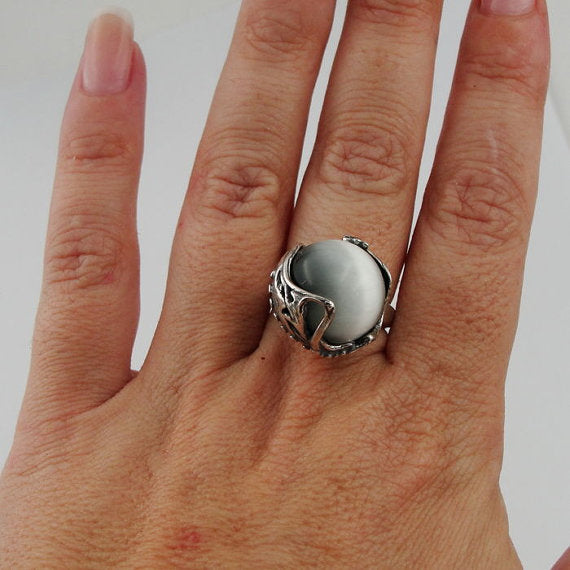 Hadar fabulous large cat's eye sterling silver israel handcrafted ring 150