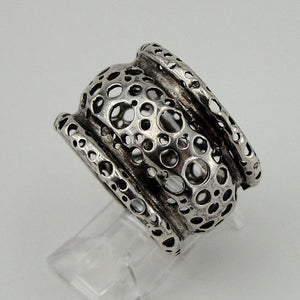 isreal design filigree wide 925 Sterling Silver woman unique Ring size 7.5 (h 1331c)