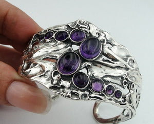 Silver bracelet with Amethyst,
