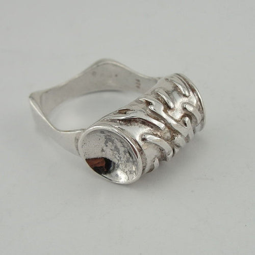 Fine 925 Sterling Silver negative stamp Ring
