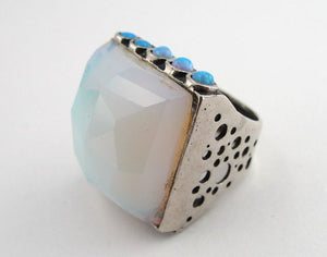 Israel Sterling Silver 925 Women Ring with Opal & Opalite Stones size 6.5 (1334)