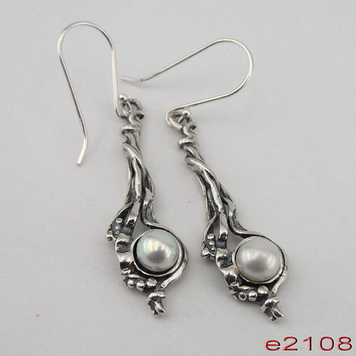 woman NEW israel made Long 925 Sterling Silver Cluster Pearl Earrings (e 2108)
