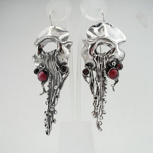 Sterling Silver Garnet Earrings (h 239)