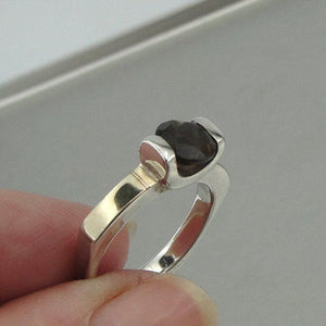 Hadar Jewelry sterling Silver & 9K Yellow Gold with Smokey Quartz