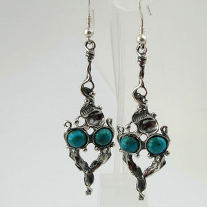 Hadar Sculpted Sterling Silver Turquoise Long Earrings (h 2105)