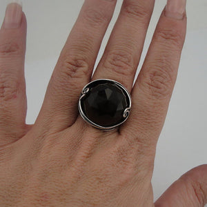 Large Round Smokey Topaz Sterling Silver Ring  (184)