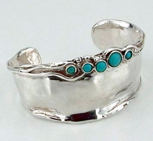 ISRAELI Turquoise Massive Wide 925 Sterling Silver Cuff Bracelet (h 396)