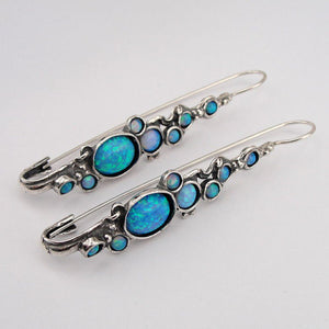 Long Blue Opal Earrings