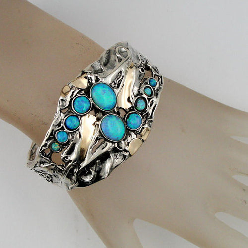 Great Wide Sterling Silver Yellow Gold Opal Cuff Bracelet (h g311)