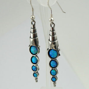 Dangle Sterling Silver Blue Mosaic Opal  Earrings