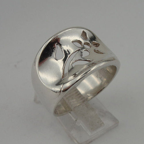 SUPER SALE Beautiful iSRAEL Handmade 925 Sterling Silver Flower Ring (tf 101)