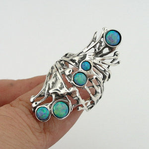 Stunning Long Sterling Silver Opal Ring (h 1588b