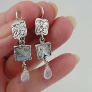 Roman Glass Sterling Silver Moonstone Earrings (as 376)