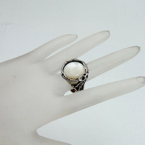 Hadar Jewelry Handcrafted Sterling Silver mop Ring size 8 (1881mop)