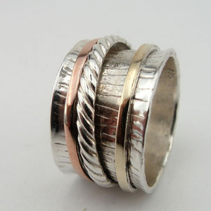 Silver & 9K Gold Swivel Band Ring