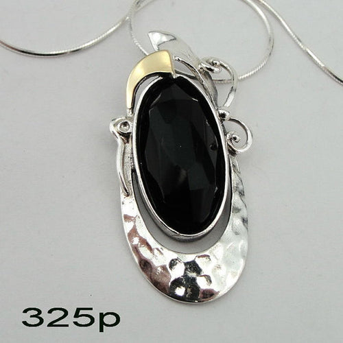 Silver & 9K Yellow Gold pendant with onyx (ms 325p)