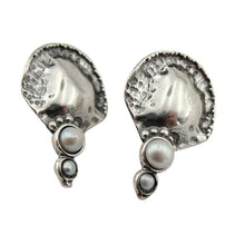 Mid-size Solid sterling silver with two round beautiful Pearls Earrings.