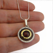 Round Garnet 925 Sterling Silver and 9K Yellow Gold pendant