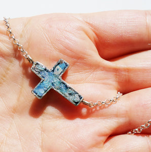 A Genuine Antique 2000 years old Roman Glass inlaid in a Solid Sterling Silver Cross pendant.