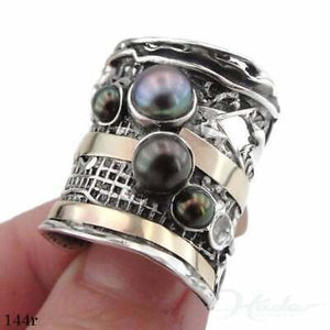 9k Gold 925 Silver Black Pearls Ring