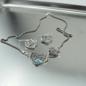 Sterling silver Roman Glass Heart Necklace Pendant Set