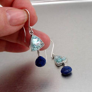 Hadar Designers Handmade Sterling Silver Roman Glass Lapis Earrings (as 421011)