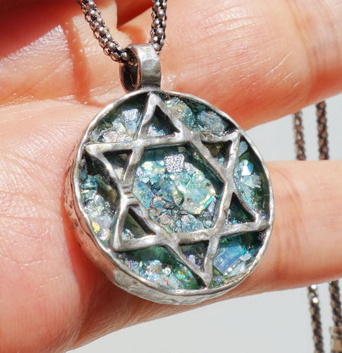 Genuine Antique 2000 Years Old Roman Glass Inlaid In Sculptural Solid Sterling Silver Pendant Decorated With the Star of David symbol