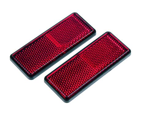 Gear Gremlin GG322 Red Rectangular Adhesive Backed Reflector, (Pack of 2)