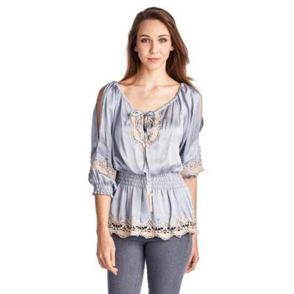 Women's Cold Shoulder Smocked Woven Top with