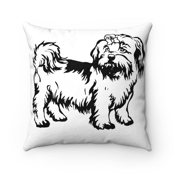 Shih Tzu Faux Suede Square Pillow