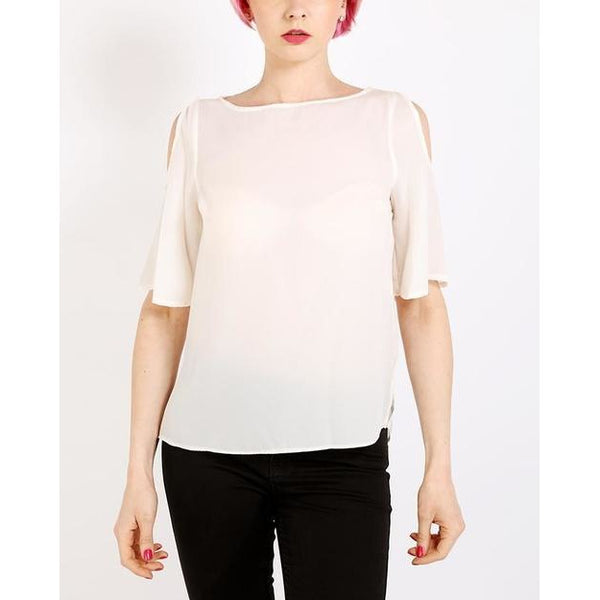 Cream Cold Shoulder Sheer Top