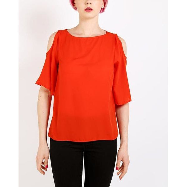 Orange Cold Shoulder Sheer Top