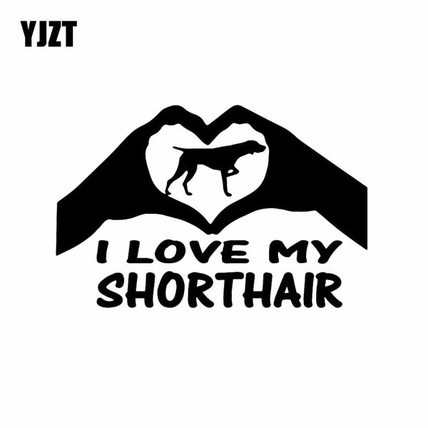 German Shorthaired Pointer Vinyl Decal 15.8X10.3CM  Hands Heart Car Sticker Shorthaired Dog Black/Silver