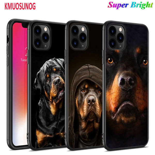 Rottweiler Black Silicone Phone Case, iPhone 11, 11 Pro, XS, MAX XR, X, 8, 7, 6S, 6 Plus, 5S, Gloss Phone Case Cover