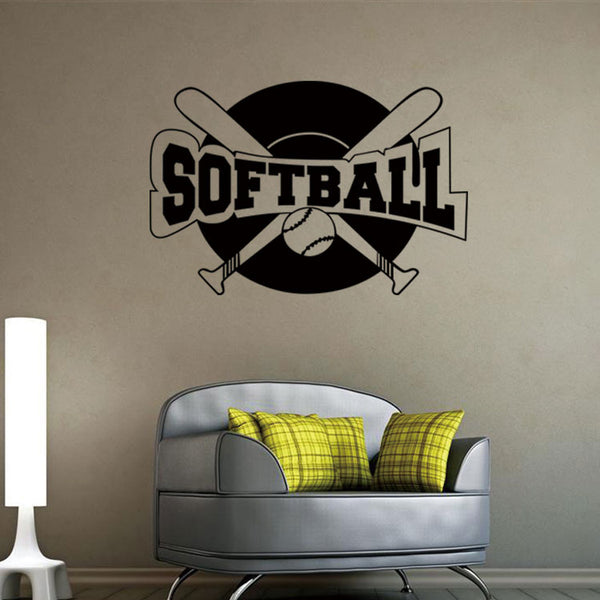 Softball Wall Decal, Sticker, Vinyl Wall Paper,