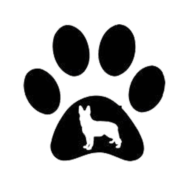 German Shepherd Paw Print, 15.2*14.7CM, Vinyl Decal, Car Sticker, Black/Silver