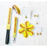Softball Accessories Set, Leather Headband, Hair Flower, Bracelet, Wristlet, Key Chain Post, Earrings Studs Dangle, Necklace