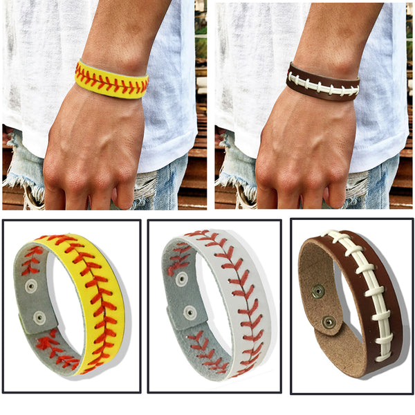 Softball Wristbands, Leather Bracelets, Wristlets, Stitches, Team Colors, 12 Variations, FREE Shipping