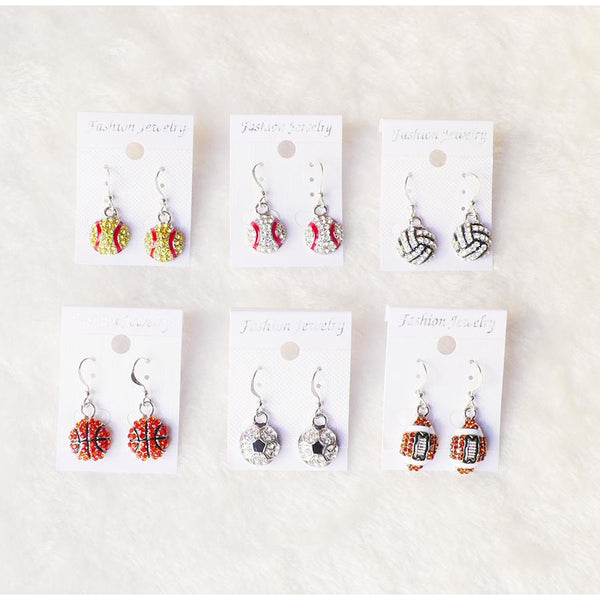 Softball Dangle Earring, Rhinestone Crystal Bling, 11 Variations, FREE Shipping