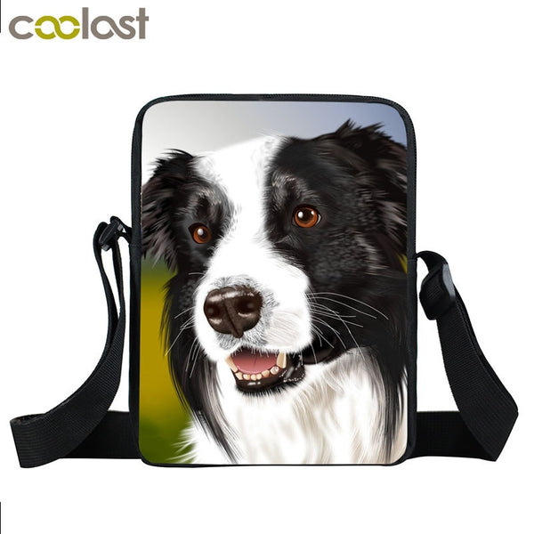 Dog Mini Messenger Bags,  Kids School Bags, Bookbag, Travel Bag, Backpack, Labrador, Rottweiler, Border Collies,   Women  Girls