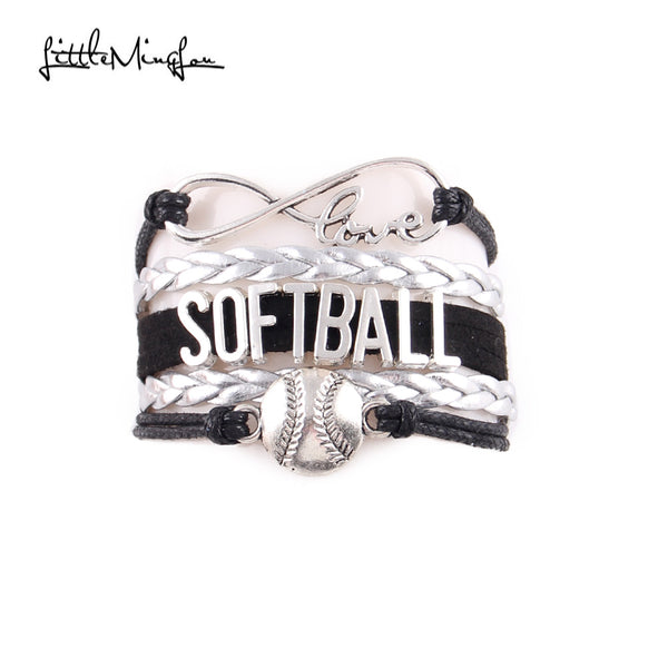 Infinity Love Softball Bracelet, Softball Charm, Leather Wrap, 16 Variations, FREE Shipping