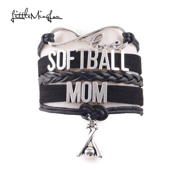 Infinity Love SOFTBALL MOM Bracelet, Charm Leather Wrap, Bangles, 4 Variations